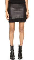 Vera Wang Ribbed Knit Skirt With Leather Trim Charcoal Black