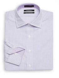 Saks Fifth Avenue Slim Fit Mini Check Cotton Dress Shirt Purple
