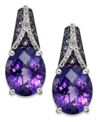 Macy's Sterling Silver Earrings Amethyst 3 9 10 Ct. T.W. And White Topaz 1 4 Ct. T.W. Oval Pave Earrings