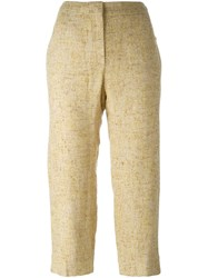Chanel Vintage Cropped Tweed Trousers Nude And Neutrals