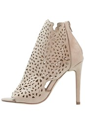 Glamorous High Heeled Ankle Boots Beige