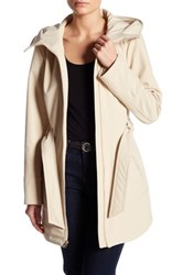 Jessica Simpson Belted Soft Shell Jacket With Hood White