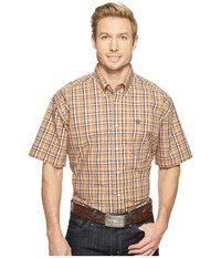 Cinch Short Sleeve Plain Weave Plaid Orange Men's Clothing