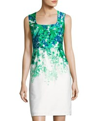 Donna Ricco Square Neck Sleeveless Sheath Dress Green White