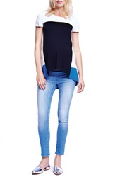 Women's Maternal America Colorblock High Low Maternity Tee