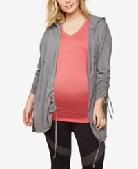 Motherhood Maternity Plus Size Ruched Zip Front Hoodie Heather Grey