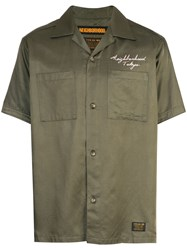 Neighborhood Rear Embroidery Buttoned Shirt Green