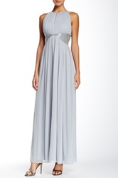 Js Boutique Mesh Keyhole Gown Metallic
