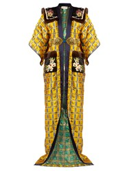 Gucci Embellished Kimono Sleeve Fur Trimmed Coat Yellow Multi