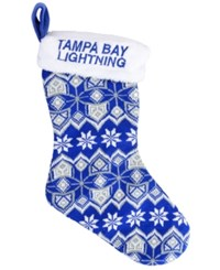 Forever Collectibles Tampa Bay Lightning Ugly Sweater Knit Team Stocking Blue