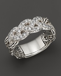 John Hardy Classic Chain Silver Diamond Pave Woven Braided Band Ring