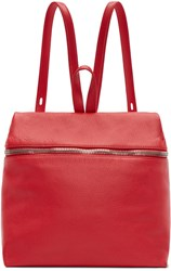 Kara Red Pebbled Leather Backpack