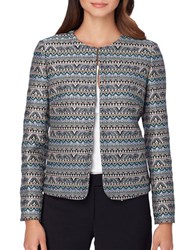 Tahari By Arthur S. Levine Petite Traditional Fit Tribal Print Open Jacket Mint Rose