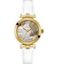 Gc Y21004l3 Ladybelle Gold Plated Stainless Steel And Leather Watch