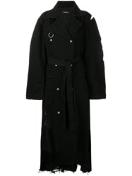 Diesel Distressed Long Trench Coat Black