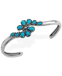 American West Genuine Turquoise 2 1 2 Ct. T.W. Cluster Cuff Bracelet In Sterling Silver