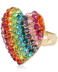 Betsey Johnson Gold Tone Pave Rainbow Heart Stretch Ring Multi