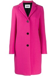 Msgm Single Breasted Coat Pink
