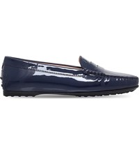 Tod's Gomma Patent Leather Driving Shoes Navy