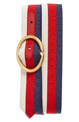 Gucci Men's Big And Tall Slider Belt Blue Red White