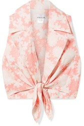 Miguelina Jill Tie Front Floral Print Linen Top Blush