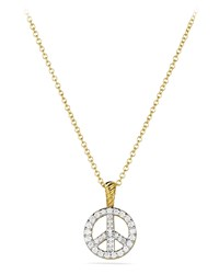 Cable Collectibles Peace Sign Pendant With Diamonds In Gold On Chain David Yurman