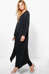 Boohoo Emily Waterfall Jersey Duster Black