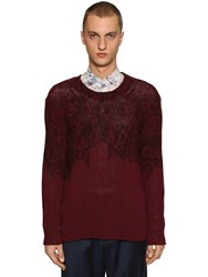 Etro Printed Wool And Cashmere Knit Sweater Bordeaux