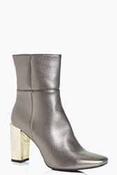 Boohoo Interest Heel High Ankle Boot Pewter