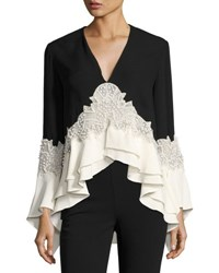 Jonathan Simkhai Ruffle Crochet High Low Peplum Top Black
