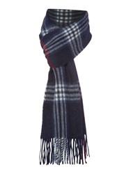Howick Wool And Cashmere Check Scarf Navy