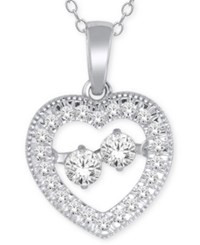 Macy's Diamond Heart Pendant Necklace 1 4 Ct. T.W. In 10K White Gold