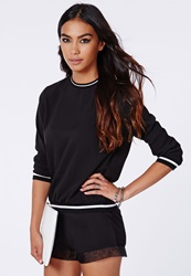 Missguided Sports Rib Crepe Sweater