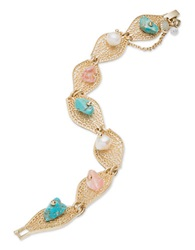 Lonna And Lilly 8Mm White Pearl And Turquoise Fold Over Bracelet Multi