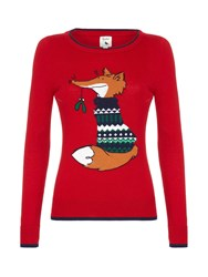 Yumi Sequin Fox Jumper Red