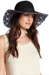 David And Young Floral Underbrim Floppy Hat Black