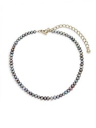 Kenneth Jay Lane 3Mm Gray Round Pearl Strand Choker Necklace Silver