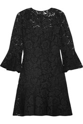 Valentino Ruffled Cotton Blend Guipure Lace Mini Dress Black