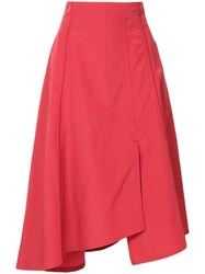 Des Pres Asymmetric Style Skirt Red