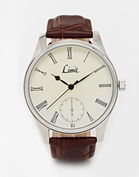 Limit Leather Strap Watch Brown
