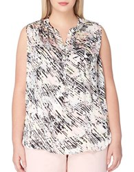Tahari By Arthur S. Levine Plus Abstract Print Sleeveless Blouse Pink