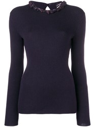 Chanel Vintage Embellished Ribbed Jumper Purple