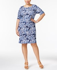Karen Scott Plus Size Cotton Floral Print Shift Dress Only At Macy's Intrepid Blue