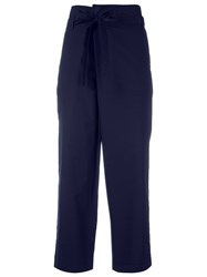 P.A.R.O.S.H. Belted Cropped Trousers Women Cotton S Blue