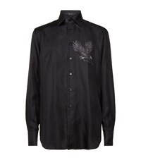 Billionaire Eagle Print Silk Satin Shirt Male Black