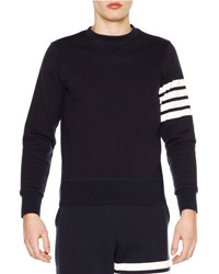 Thom Browne Crewneck Four Stripe Sweatshirt Navy