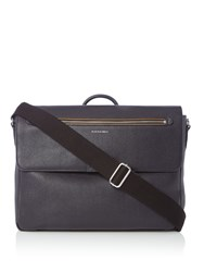 Paul Smith Leather Flap Over Messenger Bag Navy