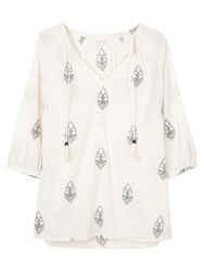 East Embroidered Leaf Tunic Top Ivory