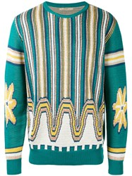 Nuur Patterned Sweater Men Cotton 52 Green