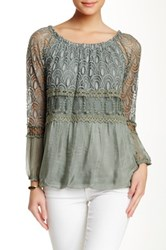 Luma Embroidered Silk Blend Blouse Green